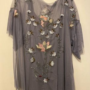 embroidered sheer blouse NWT Lane Bryant sz 22/24